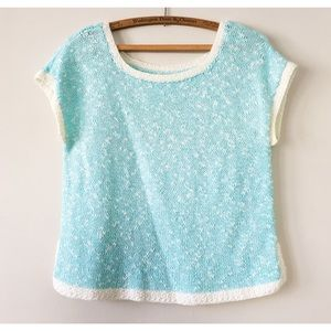 Vintage 80s Short Sleeve Sweater Baby Blue L